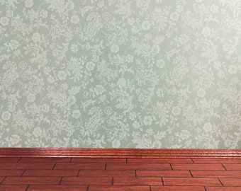"Dollhouse Miniature MiniGraphics Wallpaper Sage Green /""Damask/"" 1:12 3 Sheets"