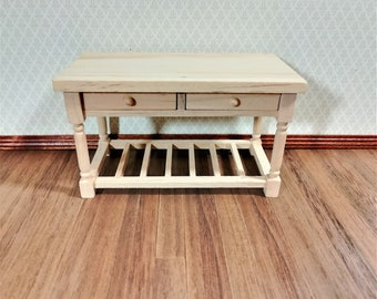 kitchen prep table island dollhouse miniature unfinished kitchen prep table with drawer 112 scale prep table etsy