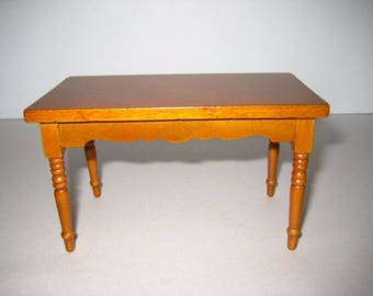 Dollhouse Miniature Kitchen Table Walnut Stain 1:12 Scale Mini Wood Furniture