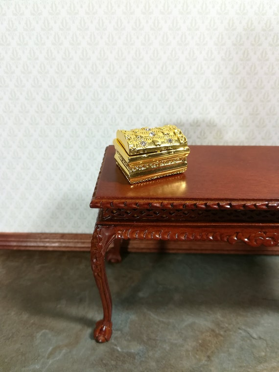 Dollhouse Miniature Large Treasure Chest or Jewelry Box 1:12 Scale Gold