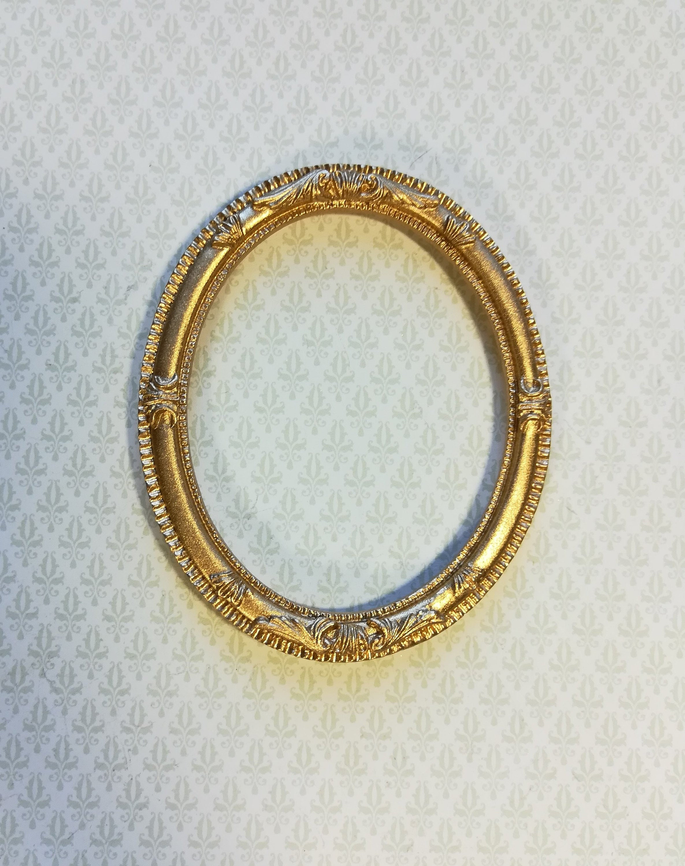 8c140e9367e Dollhouse Miniature Large Ornate Oval Gold Picture Frame For