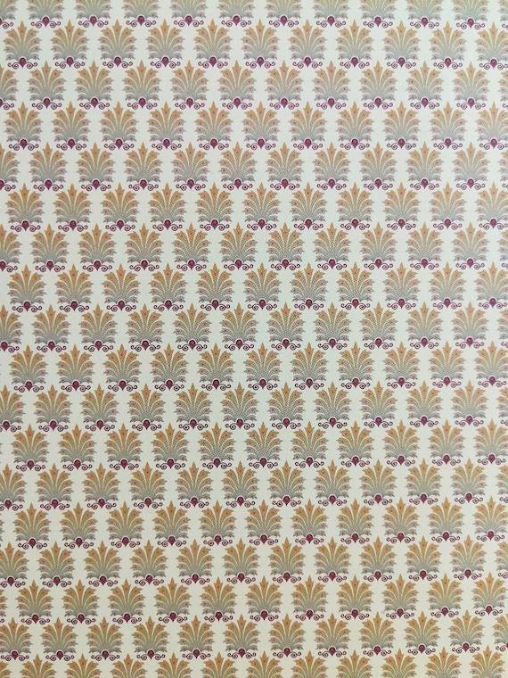 Dollhouse Miniature Brodnax Victorian 3 Part Wallpaper Maroon /& Pale Yellow 1:12