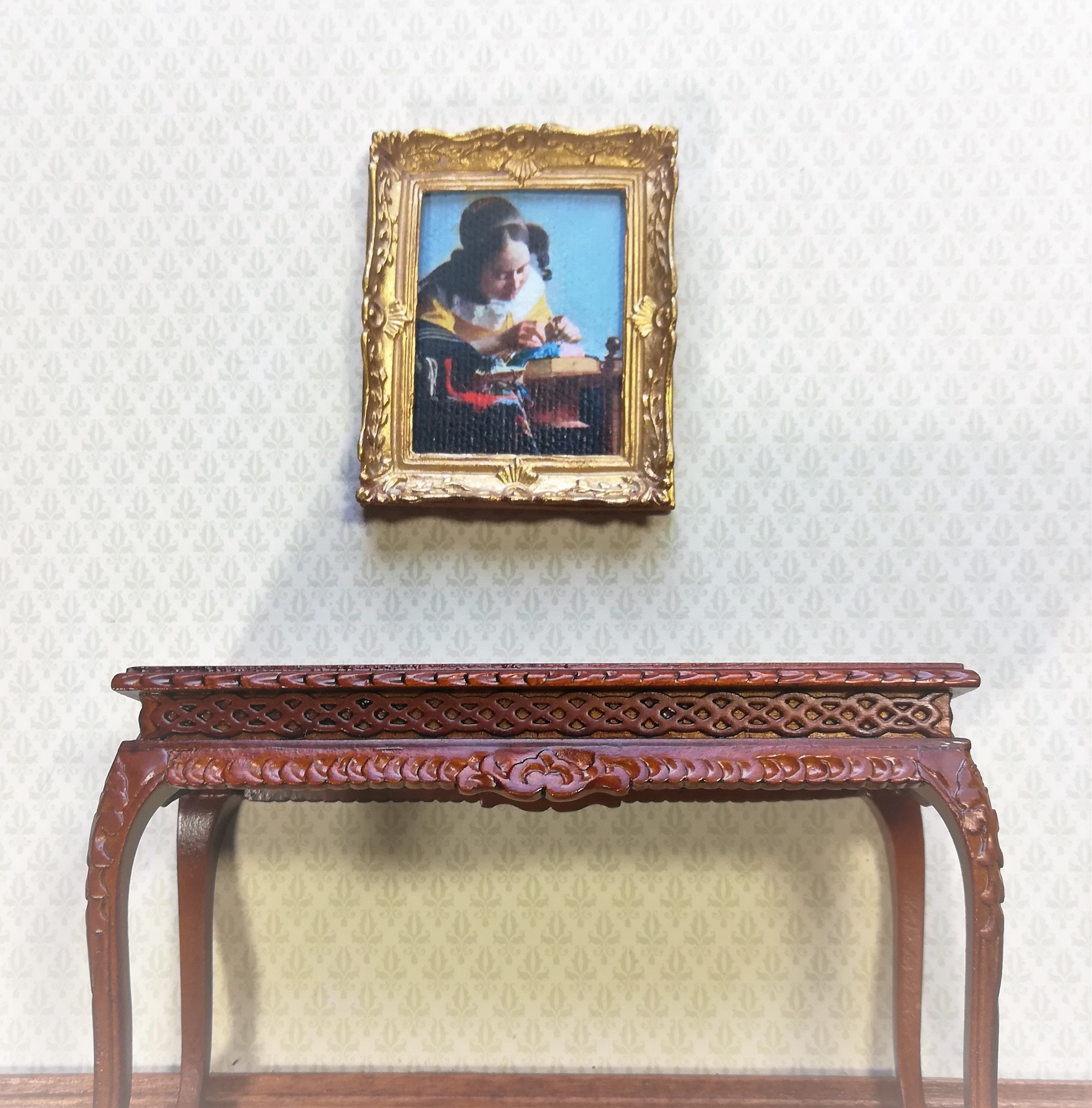 Dollhouse Miniature Painting Vermeer The Lace Maker 1:12 Scale Gold Frame