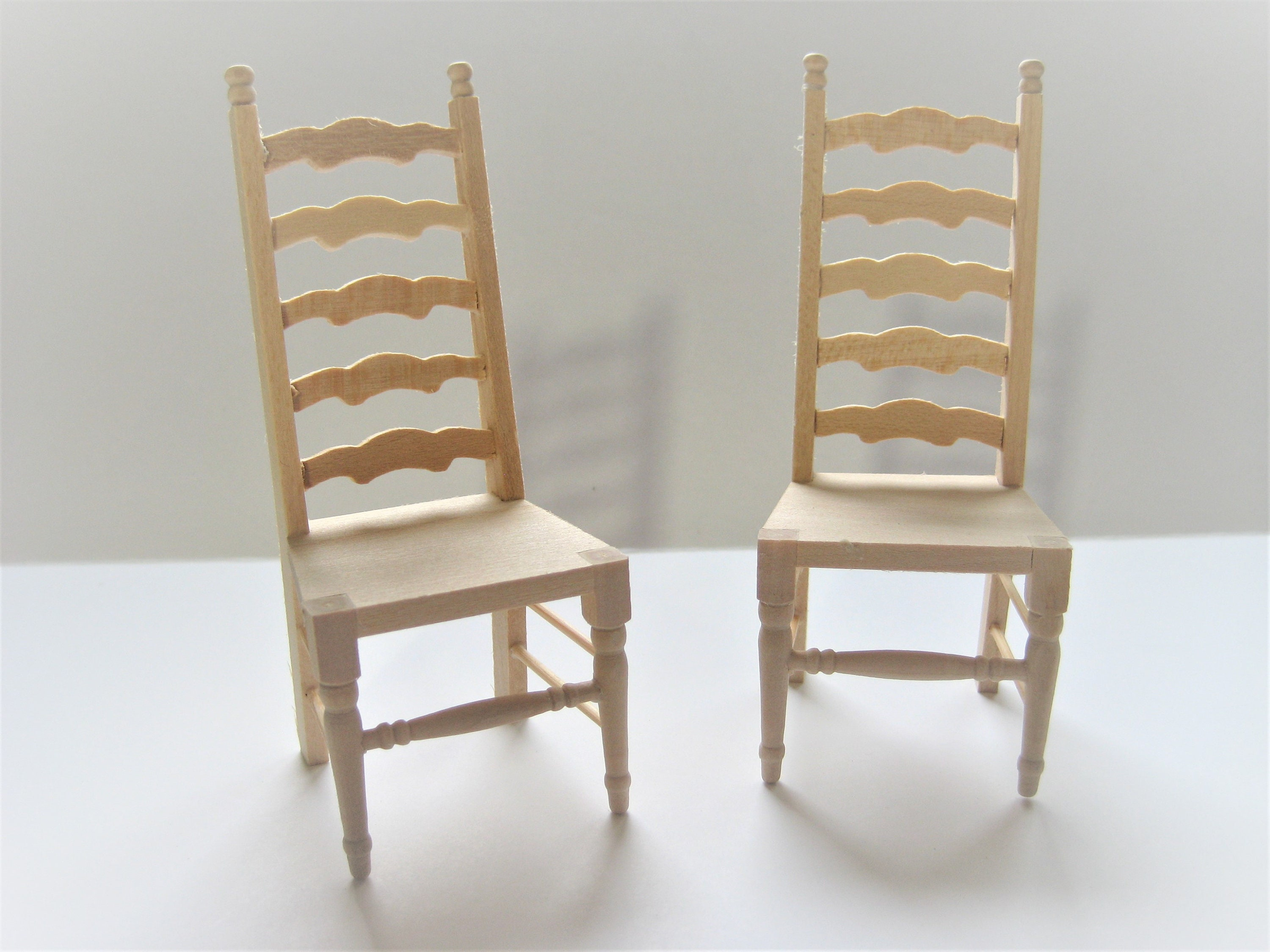 Dollhouse Miniature X2 Unfinished Ladderback Chairs For Kitchen Or Dining Room 112 Scale