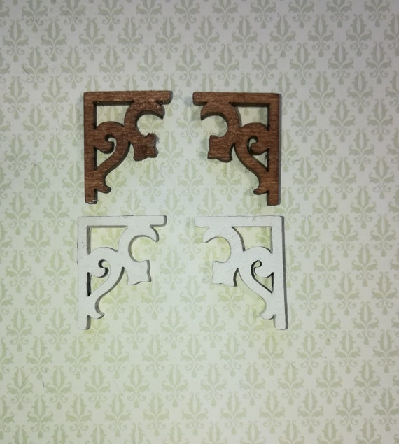 Dollhouse Miniature Corner Post Brackets in Unfinished Wood