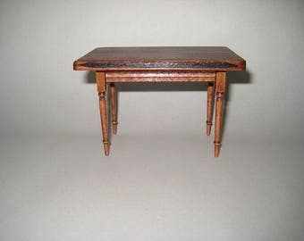 Dollhouse Miniature Handmade Wood Kitchen or Dining Room Table 1:12 Scale Furniture Artisan