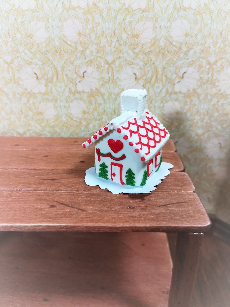 GINGERBREAD DOLLHOUSE 1:12 Miniature Christmas Red//White Kitchen Dish Towels