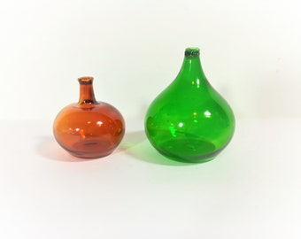 Dollhouse Miniature Carboy or Demijohn Glass Bottles Green and Amber Set of 2  1:12 Scale