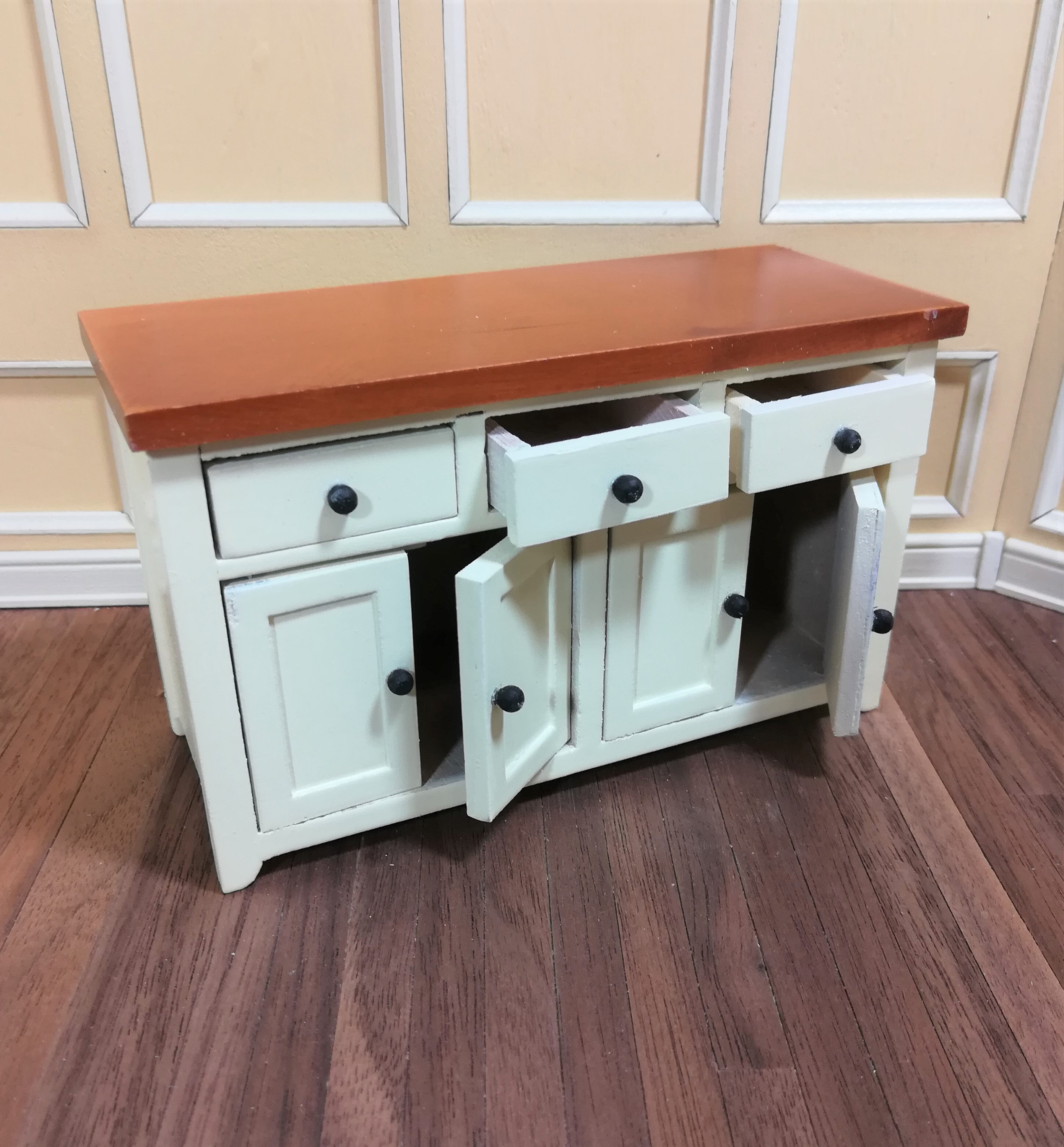 Dollhouse Miniature Kitchen Cabinet with Counter Top ...