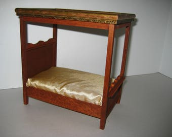Dollhouse Miniature Handmade Canopy Covered Bed 1:12 Scale Wood Furniture Artisan