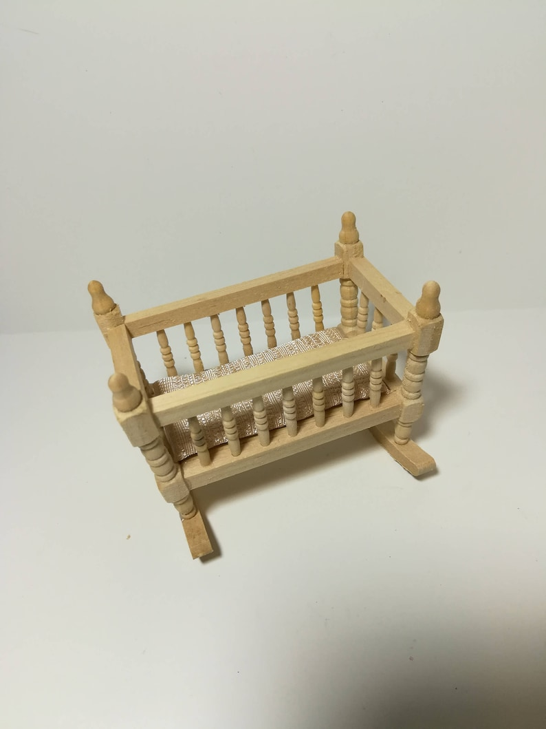 Dollhouse Miniature Cradle Crib for Nursery Unfinished Wood Rocking 1:12 Scale
