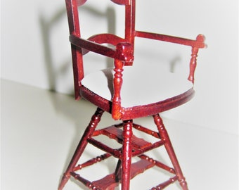 Dollhouse Miniature Victorian Child's Barber Shop Chair 1:12 Scale Furniture Wood and Leather