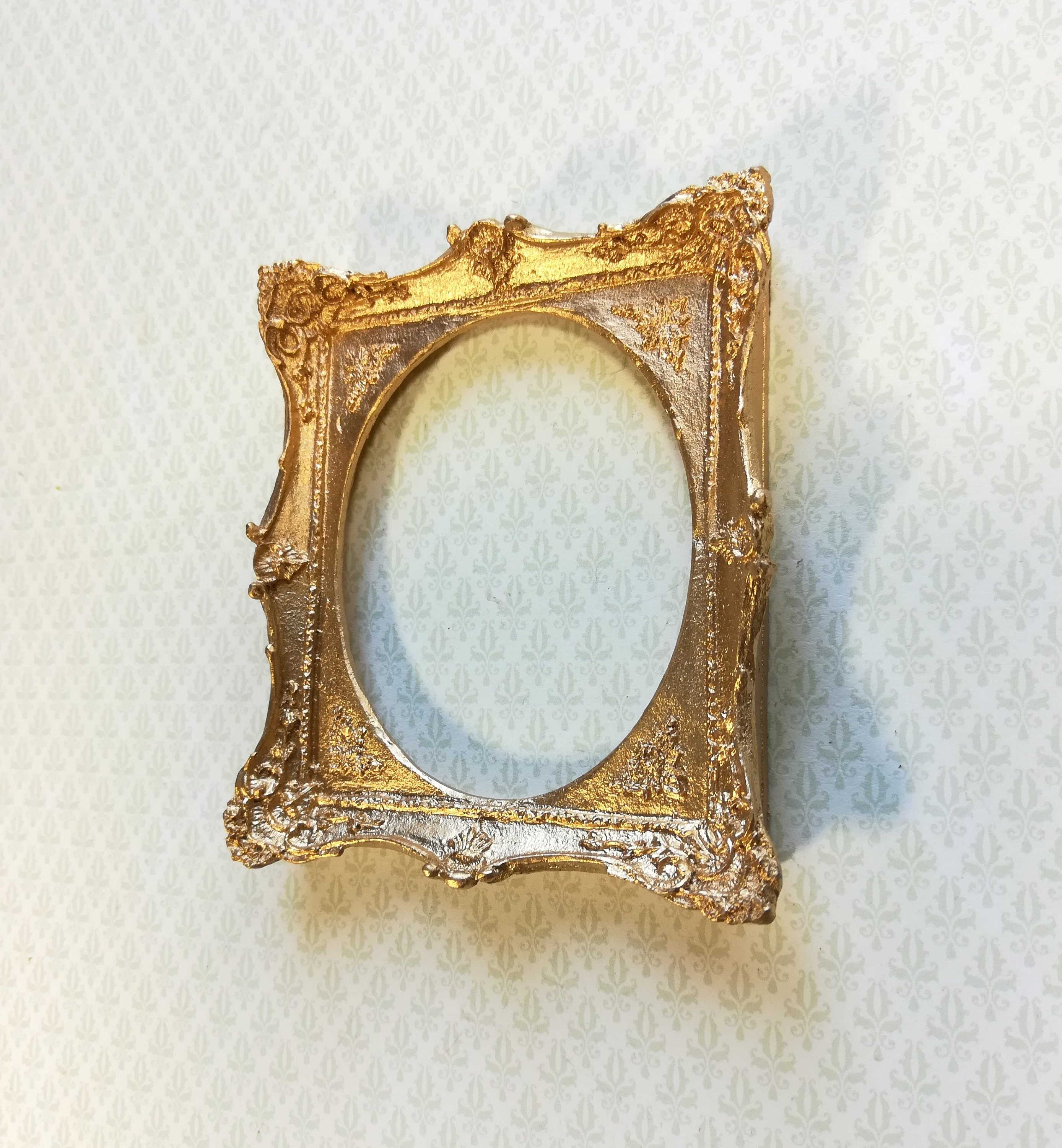 Dollhouse Miniature Large Fancy Gold Picture Frame for Painting 1:12 Scale