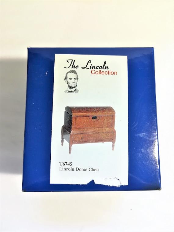 Dollhouse Miniature Lincoln Dome Chest Trunk 1:12 Scale Walnut Finish