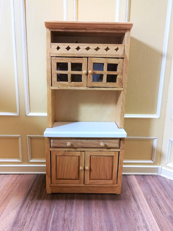 Dollhouse Miniature Kitchen Cupboard Hutch Display Cabinet ...