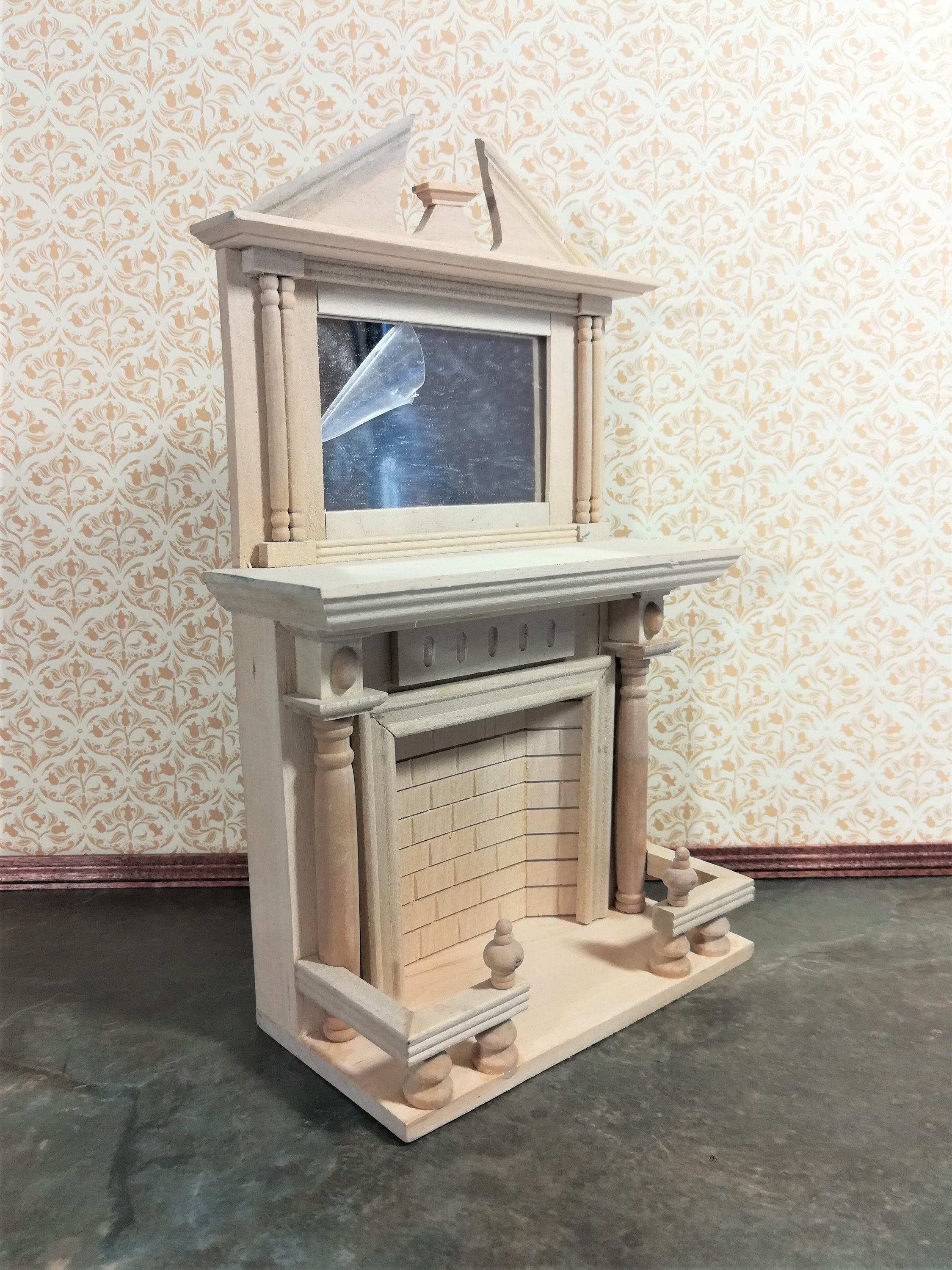Dollhouse Miniature Unfinished Fireplace with Mantel DIY 1:12 Scale