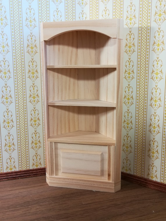 Dollhouse Miniature Library Bookcase or Shop Shelves Unfinished 1:12 Scale