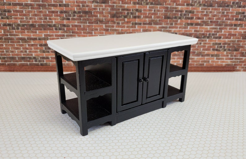 Dollhouse Miniature Center Island Kitchen Counter Black ...