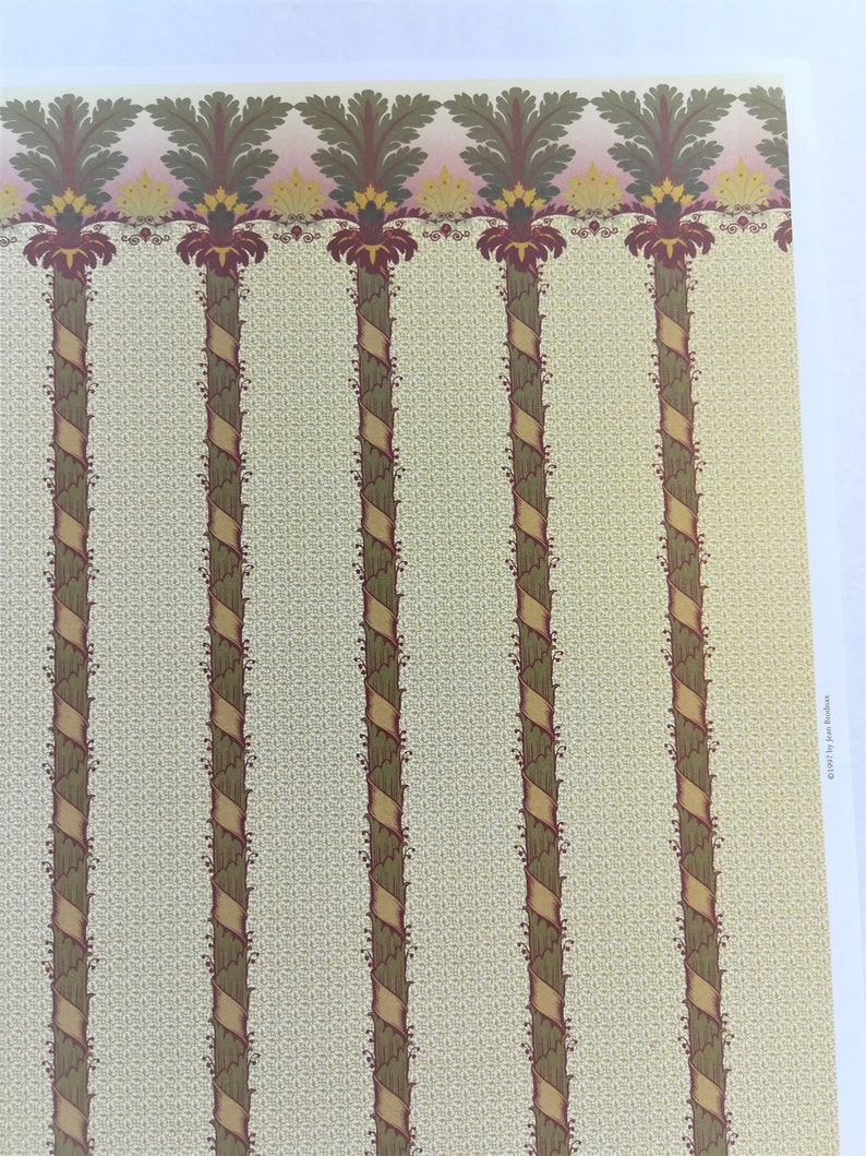 "Dollhouse Miniature Brodnax Victorian Wallpaper Palm Trees /""Brighton/"" 1:12 Scale"