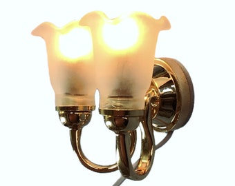 Dollhouse Double Sconce Tulip Flower Shade 12 Volt 1:12 Scale Miniature Wall Light
