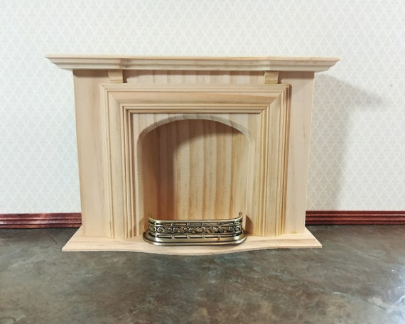Dollhouse Miniature Small Fireplace Fender 1:12 Scale Antique Brass Finish