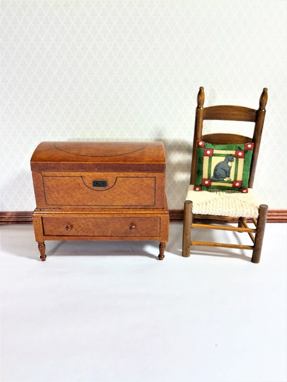 Fantastic Dollhouse Miniature Lincoln Dome Chest Trunk 1 12 Scale Walnut Finish Squirreltailoven Fun Painted Chair Ideas Images Squirreltailovenorg