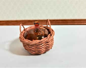 Dollhouse Miniature Carboy or Demijohn Amber Glass Bottle in Wicker Basket 1:12 Scale