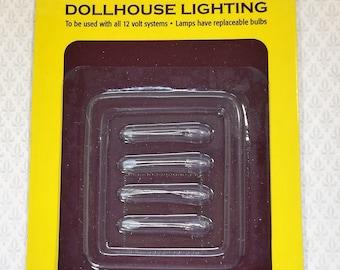 Dollhouse Miniature Bi-Pin Micro Flame Candle Bulbs 4 piece 1:12 Scale 12 Volt Houseworks