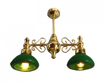 Dollhouse  Ceiling Light 2 Arm Green Shades 1:12 Scale Miniature 12 Volt