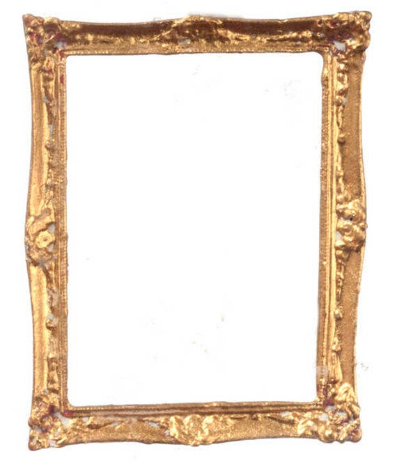 Large Rectangle Gold UMLP11  dollhouse miniatures 1//12 scale Picture Frame