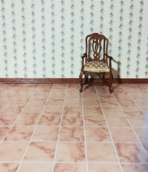 Dollhouse Miniature Pink Tile Flooring w//White Grout