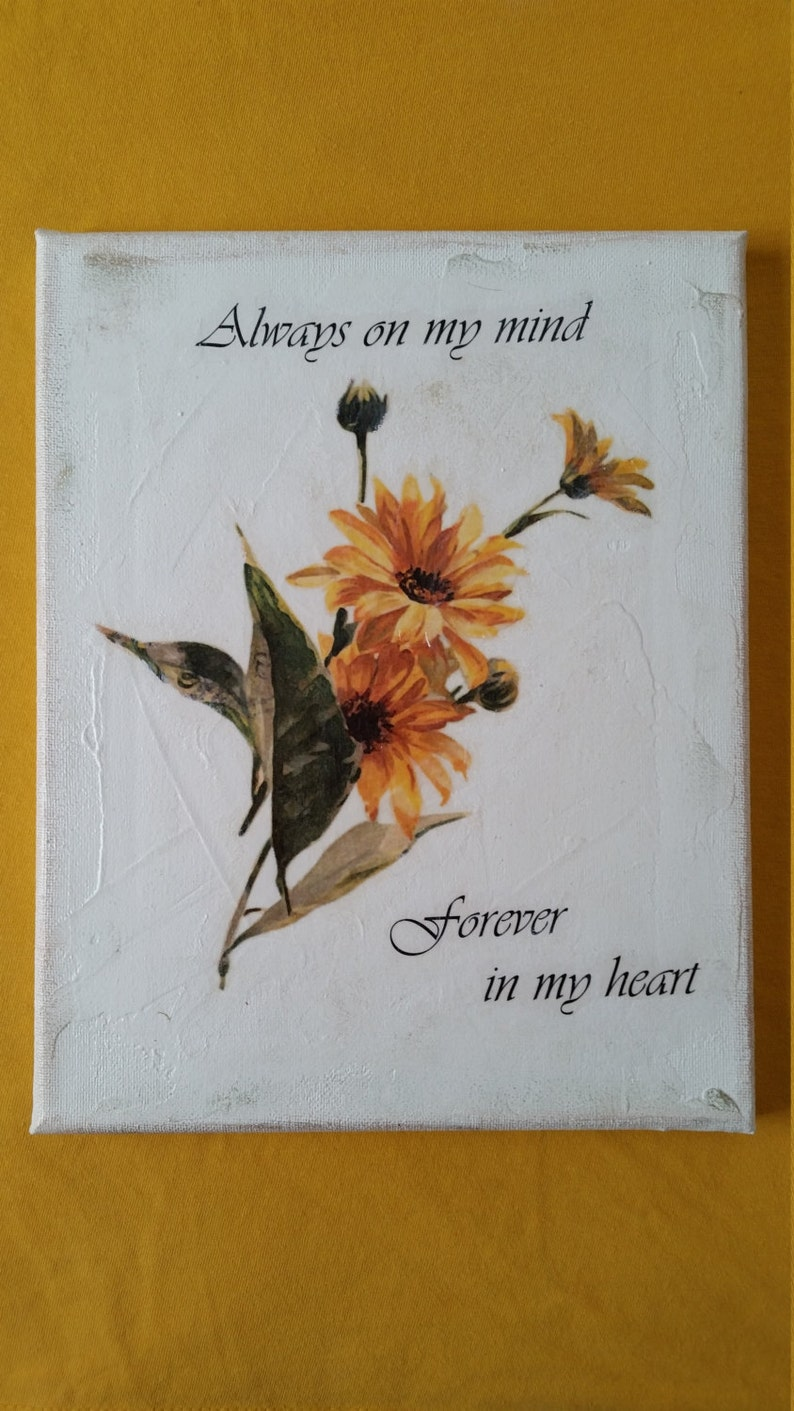 Always On My Mind Forever In My Heart Quote Yellow Flower On Etsy