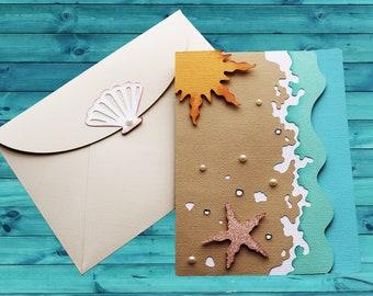Beach Note Card - Intricately Cut, Handmade