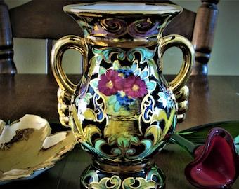 H.B.Quaregnon black and gold flower pot,flower vase,vase,Belgium gold handle vase,Quaregnon vase,pottery vase,fancy vase,floral vase