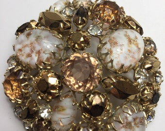 Beautiful Flower Shaped Antiqued Copper Tone Pink Rhinestones Amber Frosted Brooch Pin Bright Luster Jewelry & Watches