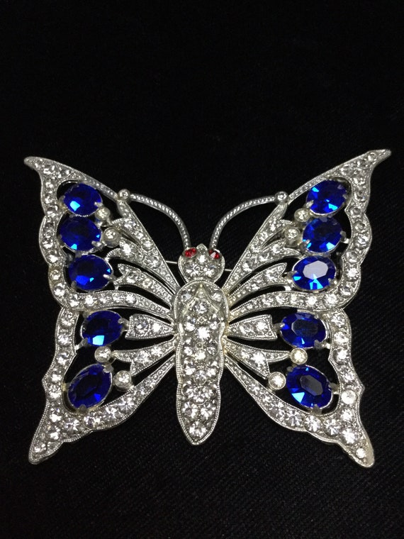 Huge Early PAVE BUTTERFLY BROOCH
