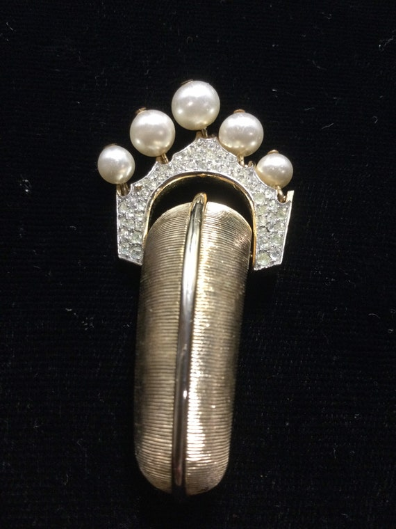 TRIFARI ARTICULATED Pave with PEARL Dangles Brooch - image 4