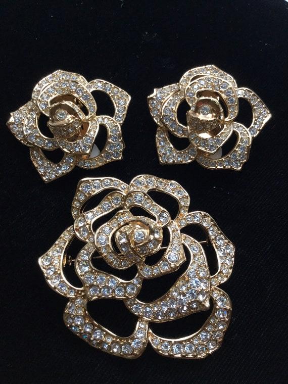 ELIZABETH TAYLOR PAVE Rose Brooch and Earrings