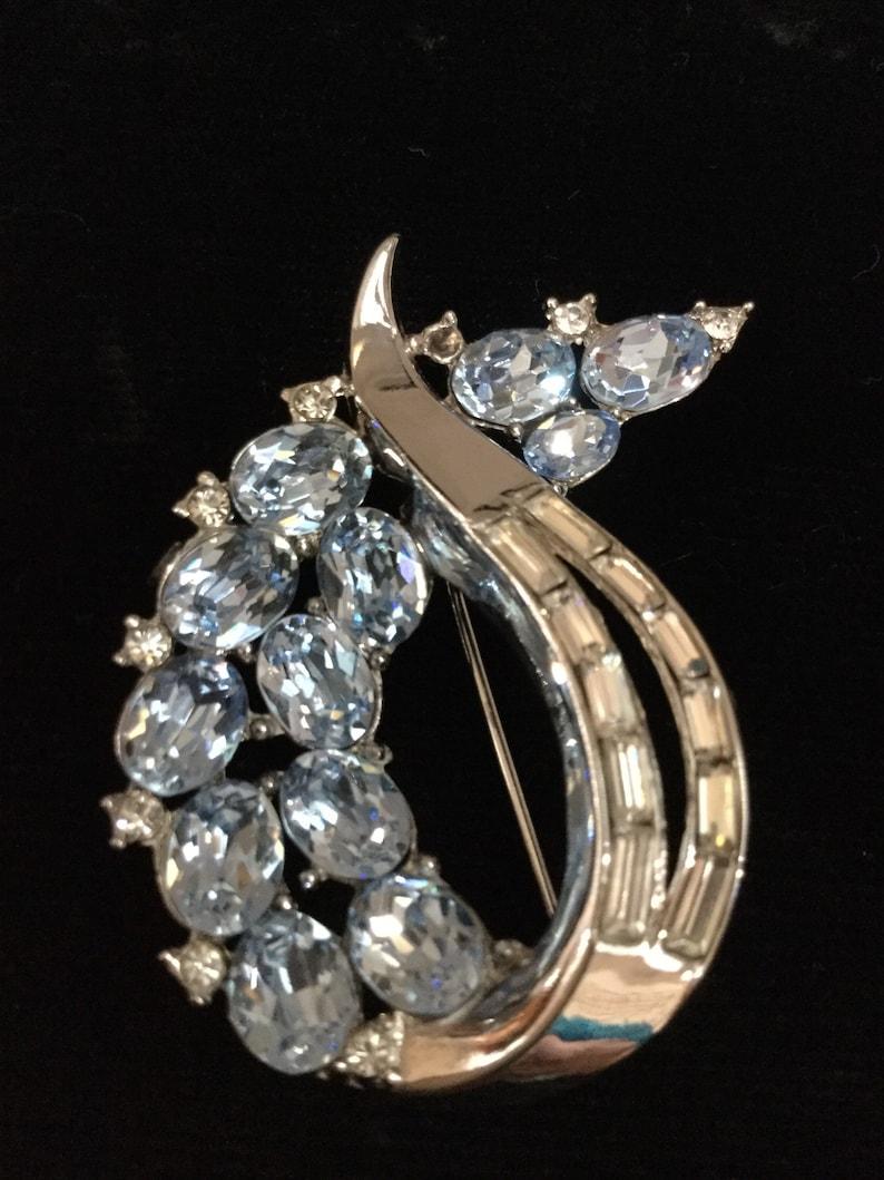 TRIFARI ABSTRACT In Crystal Blue Brooch