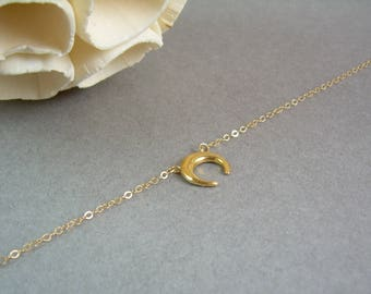 Dainty Gold Moon Necklace / Delicate Upside Down Moon / Dainty Crescent Moon Necklace / Thin Gold Chain / Gold Delicate Moon Necklace AD006