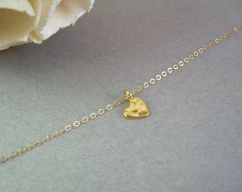 Gold Heart Necklace / Hammered Heart Necklace / Tiny Heart Necklace / Heart Bridesmaid Necklace  / Flower Girl Gift For Girlfriend AD015