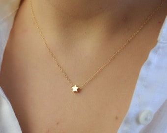 92259752a49572 Tiny Star Necklace, Gold Star Necklace, Dainty Star Necklace, Simple  Delicate Sister Gift, Thin Gold Chain, Celestial Jewelry Gift AD088