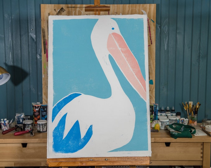 "23x32"" Original Linocut, ""Pelican at Angler House"" Hand Carved. Hand Inked. Hand Pressed."