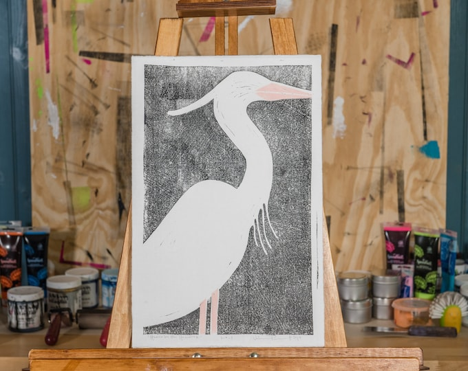 "11x17"" Original Linocut, ""Heron by the Hammock"" Hand Carved. Hand Inked. Hand Pressed."