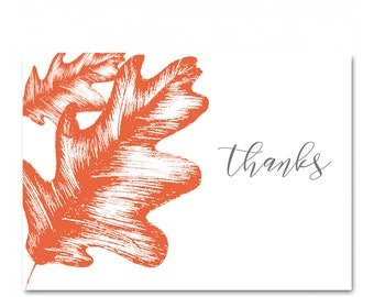 Autumn Oak -  Thank you Cards - Set of 8 - Hand painted Illustrated Floral