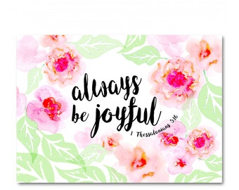 "Always be joyful - Single Card - All Occasion Card - Hand painted Illustrated Floral - Notecard - 4 1/2"" x 6 1/4"""