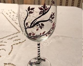 Purple Blossom Wine Glass
