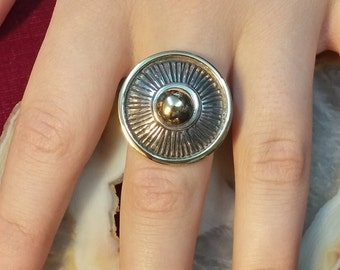 one of a kind ring, a presence ring, modern design ring, made of 14k gold and silver
