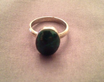 Size 6.75 teal green stone sterling silver ring