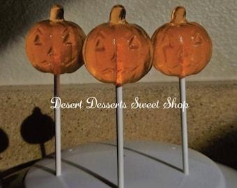 PUMPKIN LOLLIPOPS, Pumpkin Party Favors, Jack O' Lantern Lollipops, Halloween Lollipops, Halloween Party Favors, Desert Sweet Shop-Set of 10